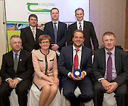 Peter Young IFJ, Gareth Gormally Dept Agriculture NI, David Small, DARDNI  and seated Prof Gerry Boyle, Director Teagasc, MEP Mairead McGuinness Raymond Hanvey, Green Roofs Ireland and  John Concannon JFC  at the JFC Innovation awards sponsored by Teagasc, DARD Northern Ireland and the Irish Farmers Journal at the Claregalway Hotel. Photo:Andrew Downes