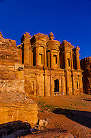 The Monastery (Ad-Dayr or Ad-Deir in Arabic) boasts a massive facade almost fifty metres square, Petra Archaeological Park, Jordan.
