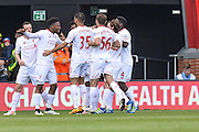 Liverpool striker (15) Daniel Sturridge celebrates his goal 0-2 during the Barclays Premier League match between Bournemouth and Liverpool at the Goldsands Stadium, Bournemouth, England on 17 April 2016. Photo by Mark Davies.