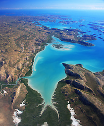 Aerial view of Dugong Bay on the Kimberley coast.
