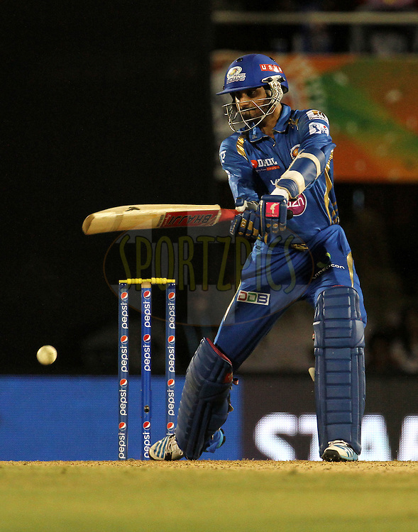 Harbhajan Singh of the Mumbai Indians plays a shot during the eliminator match of the Pepsi Indian Premier League Season 2014 between the Chennai Superkings and the Mumbai Indians held at the Brabourne Stadium, Mumbai, India on the 28th May  2014<br /> <br /> Photo by Vipin Pawar / IPL / SPORTZPICS<br /> <br /> <br /> <br /> Image use subject to terms and conditions which can be found here:  http://sportzpics.photoshelter.com/gallery/Pepsi-IPL-Image-terms-and-conditions/G00004VW1IVJ.gB0/C0000TScjhBM6ikg