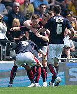 Lee Frecklington of Rotherham United (centre) celebrates with team-mates after scoring his team's 1st goal to make it 1-0 during the Sky Bet Championship match at KC Stadium, Hull<br /> Picture by Russell Hart/Focus Images Ltd 07791 688 420<br /> 07/05/2016