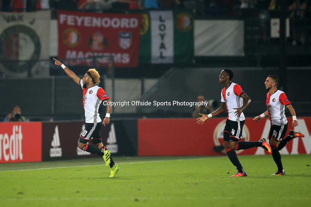 15 September 2016 - UEFA Europa League (Group A) - Feyenoord v Manchester United - Tonny Vilhena of Feyenoord (L) celebrates his goal - Photo: Marc Atkins / Offside.