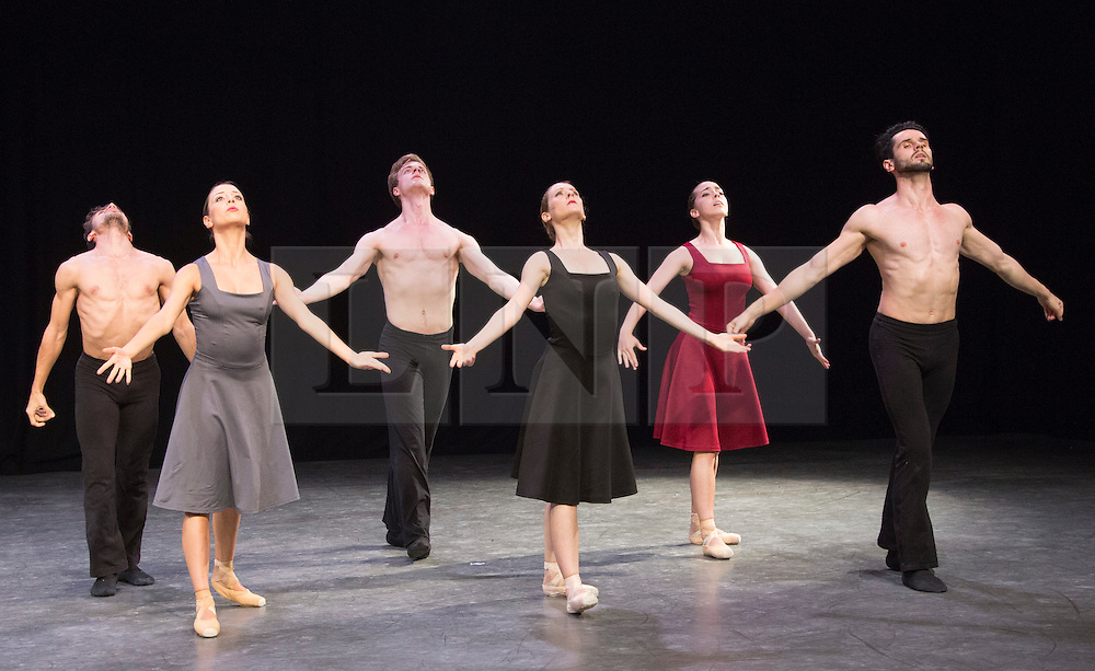 """© Licensed to London News Pictures. 07/08/2015. London, UK. """"Tangents"""" performed by L-R: Lorenzo Berardi; Simona Marsibilio, Abigail Mattox; Paul Oliver;  Gyorgy Baan and Alessia Lugoboni. Members of the New English Ballet Theatre rehearse their forthcoming performances for """"Dancing for Nepal"""" at the Clore Studio/Royal Opera House. From 20-22 August 2015, the New English Ballet Theatre and special guests will perform at St James Theatre to raise funds for the Nepal earthquake relief effort. Photo credit: Bettina Strenske/LNP"""
