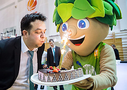 Damir Grgic, head coach of Slovenia celebrates with a birthday cake after winning and qualifying during basketball match between Women National Teams of Slovenia and Lithuania in Qualifications of EuroBasket Women 2017, on November 19, 2016 in Gimnazija Celje, Slovenia. Photo by Vid Ponikvar / Sportida
