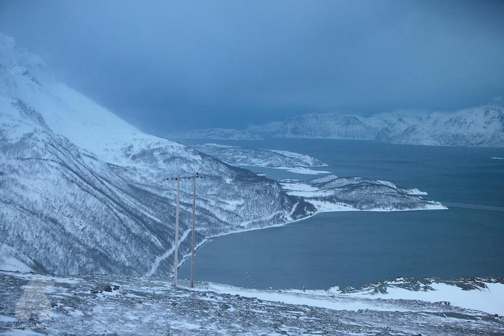 Kvænangen fjord seen from the mountain plateau, Troms, Norway.
