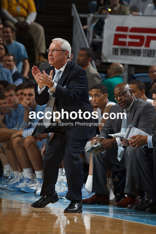 CHAPEL HILL, NC - DECEMBER 29: Head coach Roy Williams of the North Carolina Tar Heels claps his hands during a game against the UNLV Rebels on December 29, 2012 at the Dean E. Smith Center in Chapel Hill, North Carolina. North Carolina won 73-79. (Photo by Peyton Williams/UNC/Getty Images) *** Local Caption *** Roy Williams
