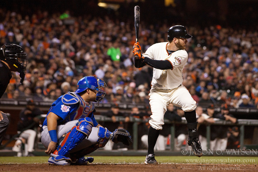 August 29, 2011; San Francisco, CA, USA;  San Francisco Giants second baseman Jeff Keppinger (8) at bat against the Chicago Cubs during the sixth inning at AT&T Park. Chicago defeated San Francisco 7-0.