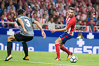 Atletico de Madrid's Saul Niguez and Malaga's Diego Gonzalez during La Liga match between Atletico de Madrid and Malaga CF at Wanda Metropolitano in Madrid, Spain September 16, 2017. (ALTERPHOTOS/Borja B.Hojas)