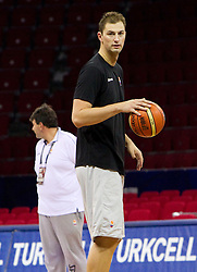Primoz Brezec at practice of Slovenia basketball team a day before of the 2010 FIBA World Championship, on August 27, 2010, in Abdi Ipekci Arena, Istanbul,Turkey. (Photo by Vid Ponikvar / Sportida)