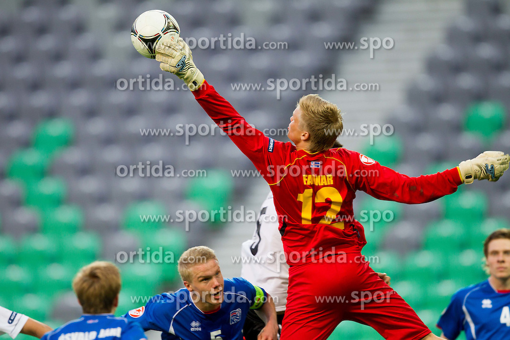 Fannar Hafsteinsson of Iceland during the UEFA European Under-17 Championship Group A match between Iceland and Germany on May 7, 2012 in SRC Stozice, Ljubljana, Slovenia. Germany defeated Iceland 1-0. (Photo by Vid Ponikvar / Sportida.com)