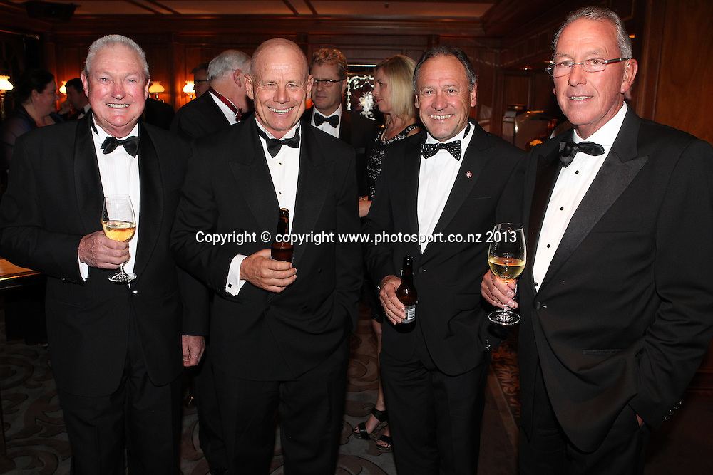 Bob McMillan, Grant Dalton with Ralph Norris and Hugh Burrett, right at the ASB cocktails during an evening with Americas Cup yachtsmen Sir Russell Coutts and Grant Dalton at The Langham, Auckland, Friday May 3, 2013 to raise funds for David Barnes and Rick Dodson who suffer from multiple sclerosis ands plan to compete in the 2016 Paralympics in Rio. Photo: Fiona Goodall/photosport.co.nz