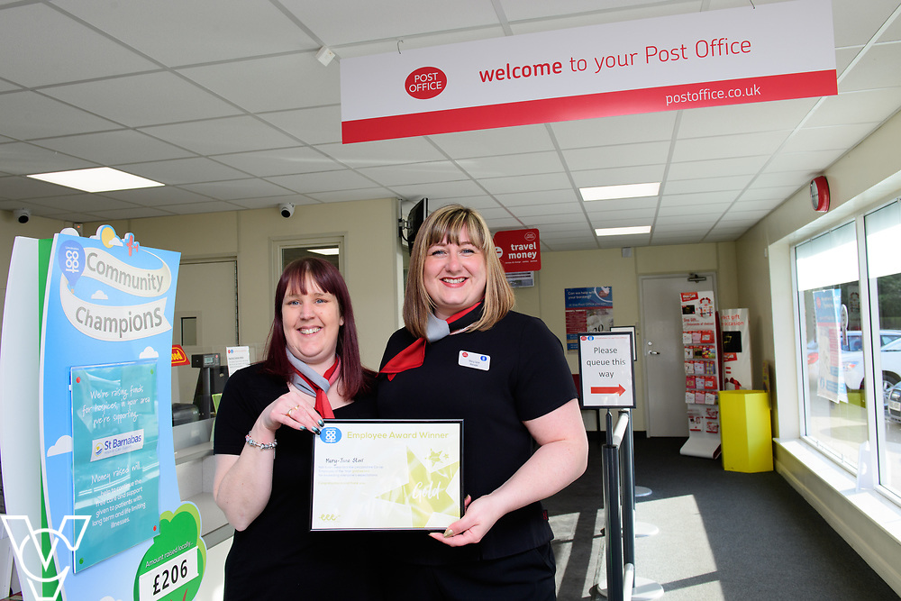 Lincolnshire Co-operative's Celebrating Success Evening winners.  Mary-Jane Storr, manager at Market Rasen Post Office, was awarded 3 e's gold award.  Pictured is Mary-Jane Storr, right, with colleague Caroline Camping<br /> <br /> Picture: Chris Vaughan Photography for Lincolnshire Co-op<br /> Date: March 24, 2017