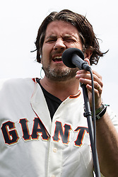 SAN FRANCISCO, CA - APRIL 07:  Recording artist Matt Nathanson sings the national anthem before the game between the San Francisco Giants and the Los Angeles Dodgers at AT&T Park on April 7, 2016 in San Francisco, California. The San Francisco Giants defeated the Los Angeles Dodgers 12-6.  (Photo by Jason O. Watson/Getty Images) *** Local Caption *** Matt Nathanson