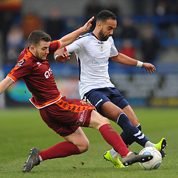 TELFORD COPYRIGHT MIKE SHERIDAN 5/1/2019 - Brendon Daniels of AFC Telford is tackled by Jacob Hibbs (formerly of AFC Telford) during the Vanarama Conference North fixture between AFC Telford United and Spennymoor Town.