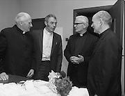 """Fr Niall O'Brien says Thanksgiving Mass.1984..16.07.1984..07.16.1984..16th July 1984..In celebration of his safe homecoming from the Philippines,Fr Niall O'Brien said a thanksgiving mass At Newtownpark Ave,Blackrock,Dublin. Along with two other priests and six lay people,Fr Niall was falsly accused of multiple murders.They became known as """"The Negros Nine"""".After President Reagan visited Ireland,The American government put pressure on the Marcos regime and all charges were dropped and all were fully exonerated...After the mass,photograph of Fr O'Brien with members of the Clolmban Order of Priests...Note; Fr O'Brien, who was born in Dublin in 1939,died in Pisa, Italy in 2004"""