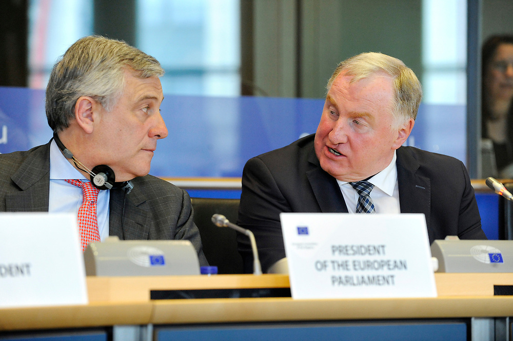 11 May 2017, 123rd Plenary Session of the European Committee of the Regions <br /> Belgium - Brussels - May 2017 <br /> EP President Tajani  and LAMBERTZ Karl-Heinz&copy; European Union / Fred Guerdin