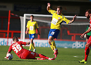 Accrington Stanley striker Billy Kee and Crawley Town striker Rhys Murphy, on loan from Oldam Athletic,  battle for possession during the Sky Bet League 2 match between Crawley Town and Accrington Stanley at the Checkatrade.com Stadium, Crawley, England on 26 September 2015. Photo by Bennett Dean.
