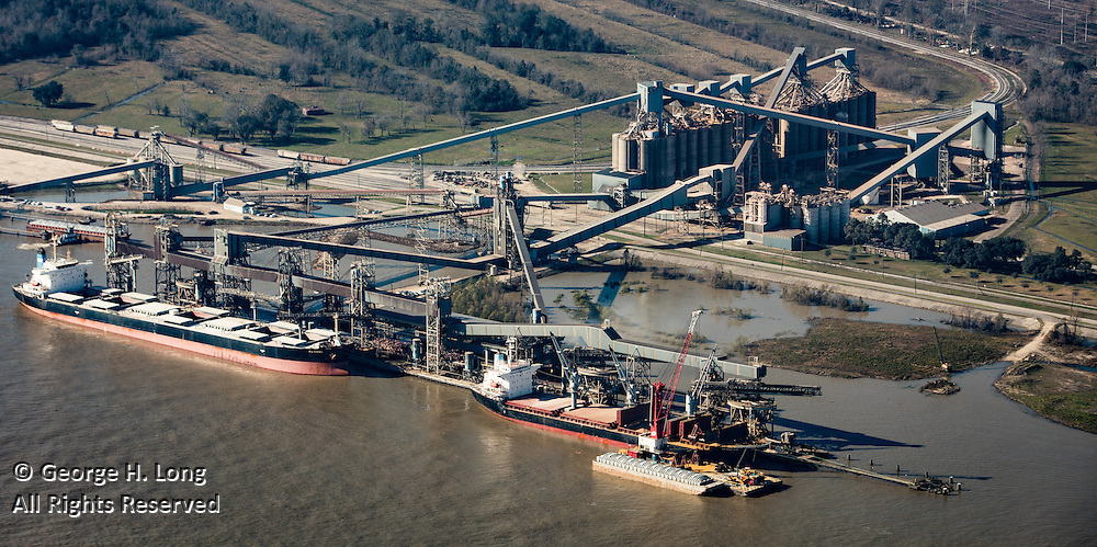 Aerial views of Cargill on the Mississippi River in Westwego, Louisiana