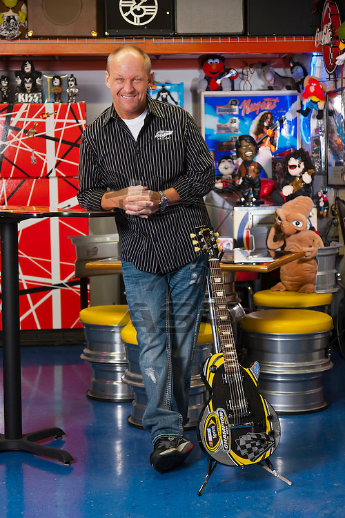 Concord, NC - Jan 17, 2012:  NASCAR's #1's artist, Sam Bass, at his studio in Concord, NC.