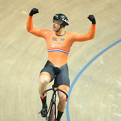 03-03-2019: WK wielrennen: Baan: Pruszkow <br />- Cycling - UCI Track Cycling World Championships presented by Tissot - Velodrome BGZ Arena, Pruszkow, Poland - Men's Sprint gold finals  Harrie Lavreysen of The Netherlands celebrates winning.