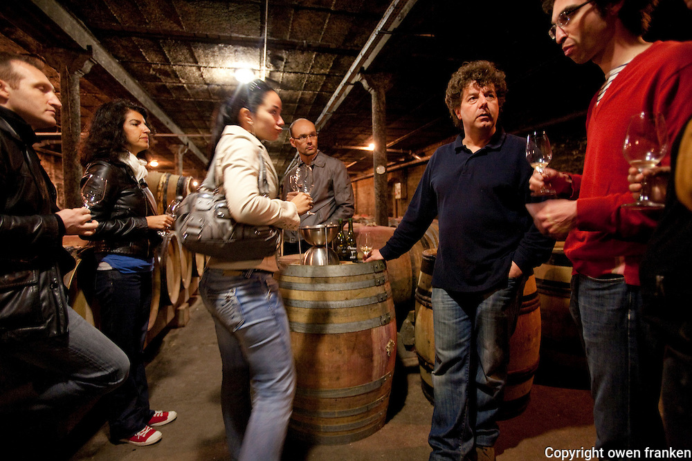 wine tasting in the cellars of Philippe Pacalet, Beaune-Burgundy...