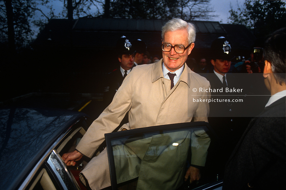 Douglas Hurd MP climbs into his ministerial car in the summer of 1990 near Oxford. Douglas Richard Hurd, Baron Hurd of Westwell, CH, CBE, PC (b1930) is a British Conservative politician who served in the governments of Margaret Thatcher and John Major from 1979 to 1995.