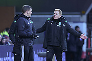 Neil Lennon is exasperated during the William Hill Scottish Cup 4th round match between Heart of Midlothian and Hibernian at Tynecastle Stadium, Gorgie, Scotland on 21 January 2018. Photo by Kevin Murray.