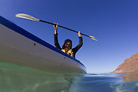Young women kayaking on the Sea of Cortez, Mexico