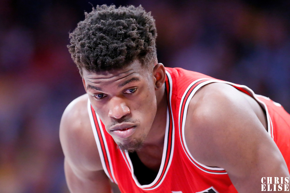 29 January 2015: Chicago Bulls guard Jimmy Butler (21) rests during the Los Angeles Lakers 123-118 2OT victory over the Chicago Bulls, at the Staples Center, Los Angeles, California, USA.