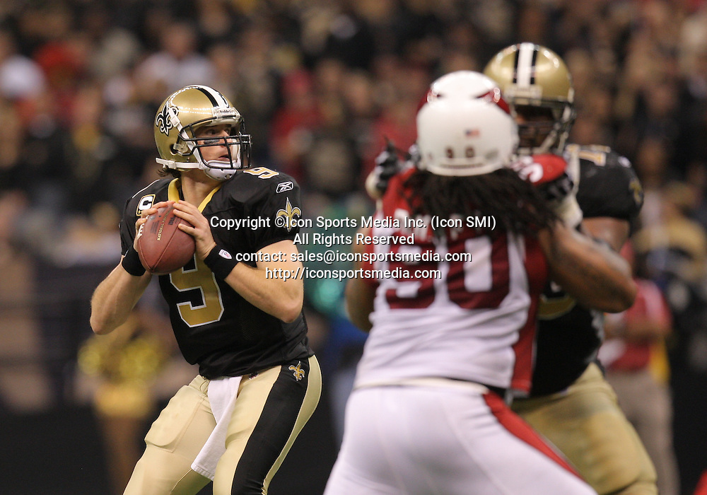 16 January 2010: New Orleans Saints quarterback Drew Brees (9) looks to pass the ball during a 45-14 win by the New Orleans Saints over the Arizona Cardinals in a 2010 NFC Divisional Playoff game at the Louisiana Superdome in New Orleans, Louisiana.