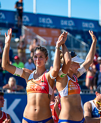25-08-2019 NED: DELA NK Beach Volleyball, Scheveningen<br /> Last day NK Beachvolleyball / Joy Stubbe #2, Marleen Ramond- van Iersel #1