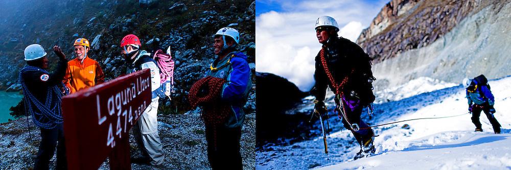 Peruvian mountain guides Renzo Moreno, Juan Morales, Abel Colana and Carlos Callupe share a laugh as the prepare to trek the White Mountain range  near Huaraz, Peru, Friday, Jan. 14, 2011.(Photo Dado Galdieri)
