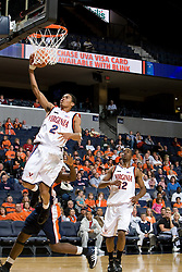 Virginia Cavaliers G Mustapha Farrakhan (2) shoots a lay up.  The Virginia Cavaliers men's basketball team defeated the Carson-Newman Eagles 124-65 in an exhibition basketball game at the John Paul Jones Arena in Charlottesville, VA on November 4, 2007.