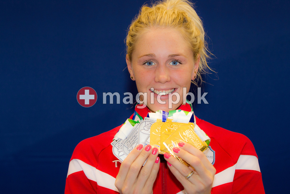 Jeanette OTTESEN of Denmark poses with all her won medals (3xGold and 3 Silver) at the 15th European Short Course Swimming Championships in Szczecin, Poland, Sunday, Dec. 11, 2011. (Photo by Patrick B. Kraemer / MAGICPBK)