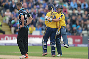 Sean Ervine congratulates James Vince on his Centuary during the NatWest T20 Blast Quarter Final match between Worcestershire County Cricket Club and Hampshire County Cricket Club at New Road, Worcester, United Kingdom on 14 August 2015. Photo by David Vokes.