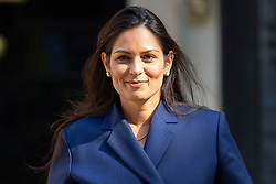 © Licensed to London News Pictures. 25/07/2019. London, UK. Home Secretary Priti Patel departs Downing Street after the first meeting of the new Cabinet. Later today Prime Minister Boris Johnson will speak in the House of Commons.  Photo credit: George Cracknell Wright/LNP