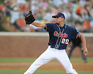 Mississippi's Matt Crouse (20) pitches vs. Virginia during an NCAA Regional game at Davenport Field in Charlottesville, Va. on Saturday, June 5, 2010.