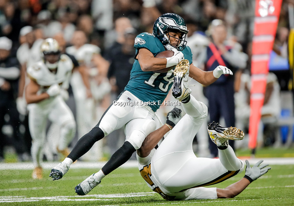 Nov 18, 2018; New Orleans, LA, USA; Philadelphia Eagles wide receiver Golden Tate (19) is tackled by New Orleans Saints defensive end Cameron Jordan (94) during the second half at the Mercedes-Benz Superdome. Mandatory Credit: Derick E. Hingle-USA TODAY Sports