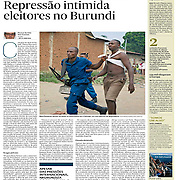 "Tearsheet of ""Burundi: Repressao intimida eleitores"" published in Expresso"