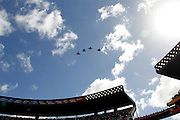 U.S. military jets fly over Aloha Stadium during the singing of the National Anthem during the 2012 NFL Pro Bowl football game between the AFC All-Stars and the NFC All-Stars on Sunday, January 29, 2012 in Honolulu, Hawaii. The AFC won the game 59-41. ©Paul Anthony Spinelli