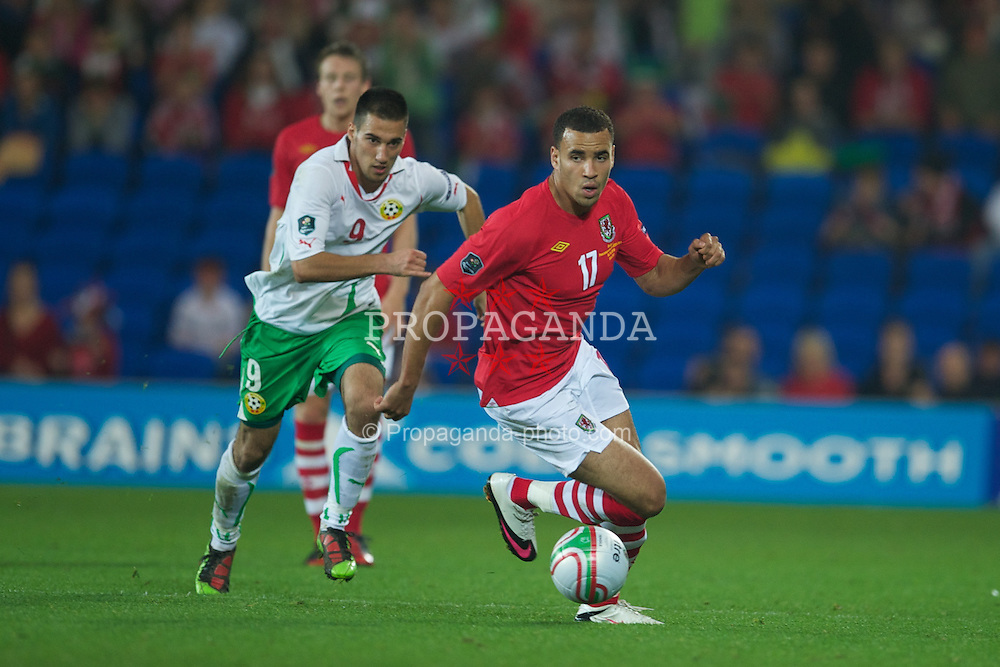 CARDIFF, WALES - Friday, October 8, 2010: Wales' Hal Robson-Kanu in action against Bulgaria during the UEFA Euro 2012 Qualifying Group G match at the Cardiff City Stadium. (Pic by David Rawcliffe/Propaganda)