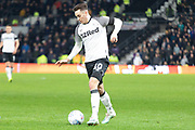 Tom Lawrence (10) during the EFL Sky Bet Championship match between Derby County and Sheffield Wednesday at the Pride Park, Derby, England on 11 December 2019.