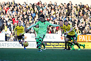 Wolverhampton Wanderers striker Helder Costa (17) scores a penalty for Wolves and celebrates (1-0) during the EFL Sky Bet Championship match between Burton Albion and Wolverhampton Wanderers at the Pirelli Stadium, Burton upon Trent, England on 4 February 2017. Photo by Richard Holmes.