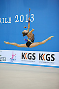 Halkina Katsiaryna during final at clubs in Pesaro World Cup 28 April 2013. Katsiaryna is a Belarusian rhythmic gymnastics athlete born February 25, 1997 in Minks, Belarus.