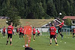 14.07.2013, Walchsee, AUT, FC Augsburg, Trainingslager, im Bild Fussball-Tennis am ersten Trainingstag, am Ball Sascha Mv&Ograve;LDERS, MOELDERS (FC Augsburg #33) // during a trainings session of German 1st Bundesliga club FC Augsburg at their training camp in Walchsee, Austria on 2013/07/14. EXPA Pictures &copy; 2013, PhotoCredit: EXPA/ Eibner/ Klaus Rainer Krieger<br /> <br /> ***** ATTENTION - OUT OF GER *****