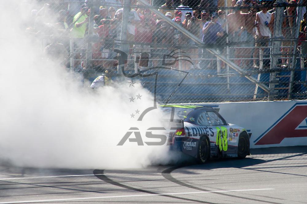 TALLADEGA, AL - APR 17, 2011: Jimmie Johnson wins the Aaron's 499 at the Talladega Superspeedway in Talladega, AL.