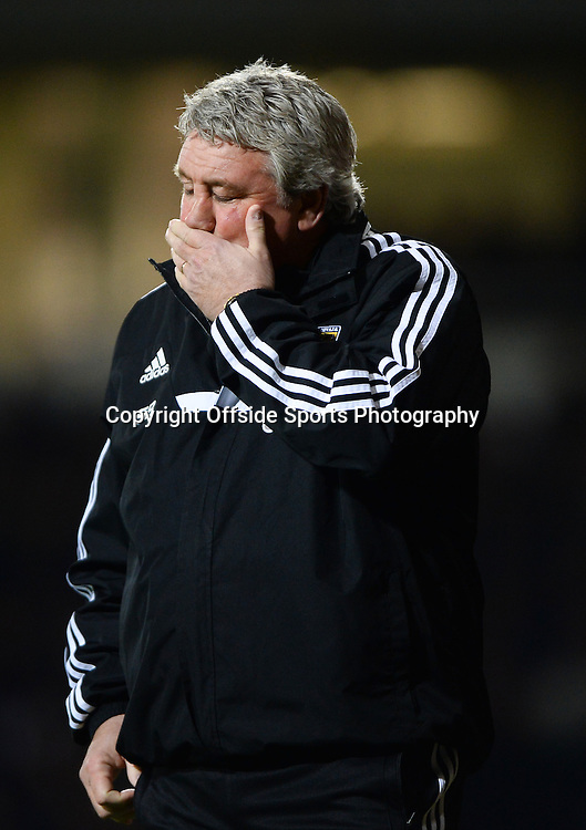 26 March 2014 - Barclays Premier League - West Ham United v Hull City - A dejected Steve Bruce, Manager of Hull City - Photo: Marc Atkins / Offside.