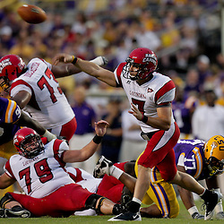 19 September 2009: Louisiana-Lafayette Cajuns quarterback Chris Masson (7) passes the ball during a 31-3 win by the LSU Tigers over the University of Louisiana-Lafayette Ragin Cajuns at Tiger Stadium in Baton Rouge, Louisiana.