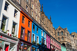 Colourful buildings on historic Victoria Street in Edinburgh Old Town, Scotland, UK